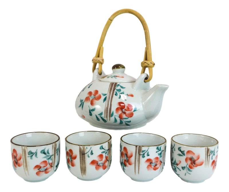 Japanese Red Cherry Blossom Flowers Design Porcelain Tea Pot And 4 Cups Set