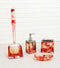 Red Pink Valentine Hearts 5 Piece Chic Bathroom Vanity Accessories Gift Set