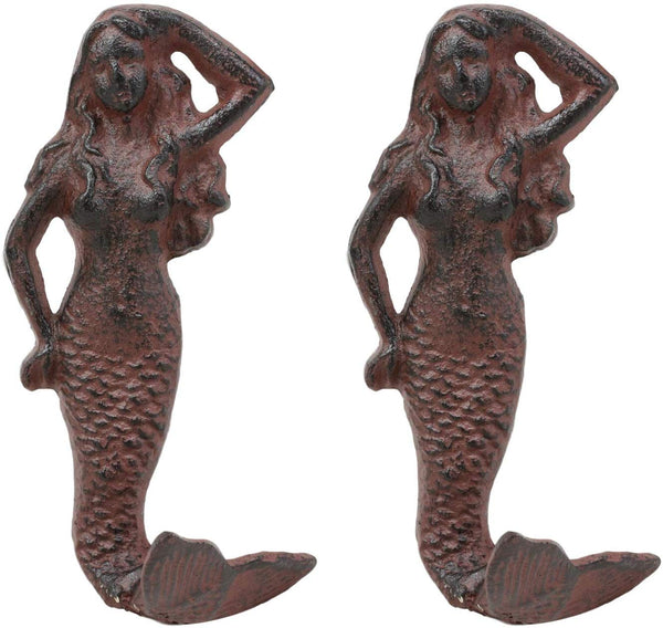 "Ebros Gift 6"" Tall Nautical Siren Mermaid Cast Iron Rustic Vintage Finish Wall Coat Hook Ocean Goddess Princess Coastal Beach Under The Sea Mermaids Decorative Accent Hooks for Keys Leashes Hats (2)"