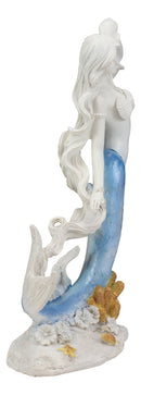 Capiz Blue Ombre Tail Nautical Mermaid With Conch Shell By Sea Coral Reef Statue