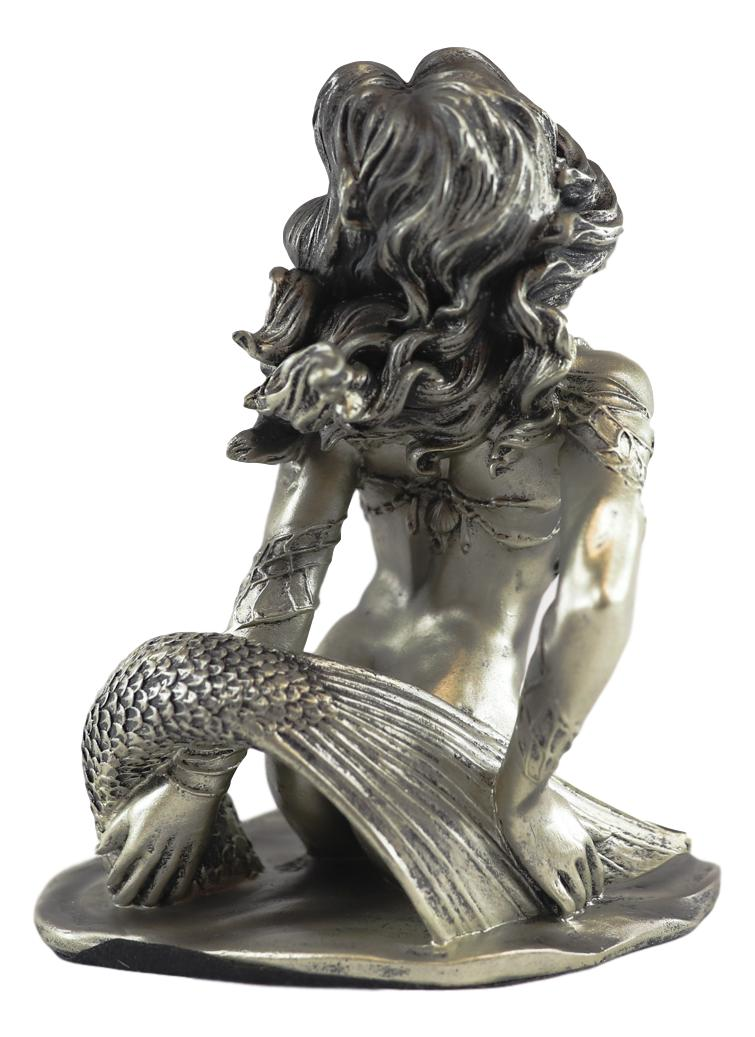 "Ebros Aged Bronze Resin Nude Seductive Mermaid Statue 7.25"" Tall"