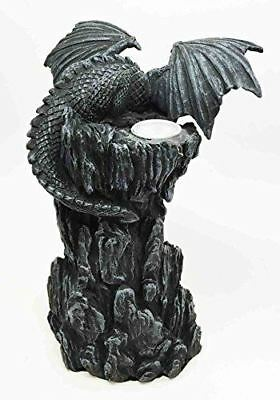 Dark Rocky Mountain Chernos Dragon Backflow Incense Tower Burner Statue Figurine
