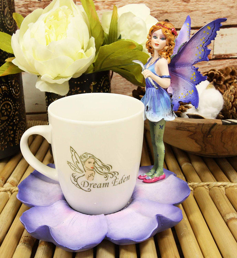 Ebros Fantasy Pixie Beverage Teacup Fairy Standing On Flower Saucer Display Stand Holder Statue with Dream Eden Coffee Mug Set for Whimsical Tea Party Decor Accent of Fairies Nymphs Pixies (Purple)