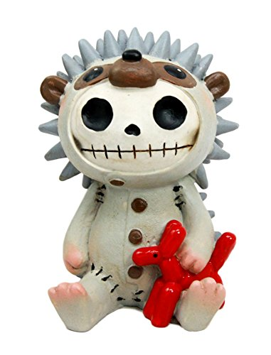 "Ebros Larger Furry Bones Pygmy Hedgehog Skeleton Monster Sit Up Ornament Figurine 3.75""Tall"
