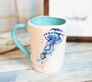 Nautical Marine Blue And White Jellyfish Ceramic Drinking Coffee Mug Pack Of 2