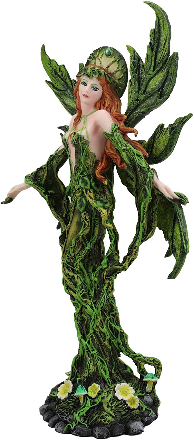 "Ebros Elemental Earth Gaia Forest Green Fairy Statue Decorative Figurine 12.25""H"