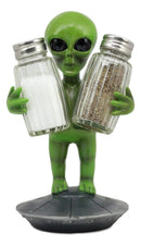 "Ebros UFO Outer Space Colony Extra Terrestrial Green Roswell Alien On Flying Saucer Spaceship Salt And Pepper Shakers Holder Statue 7""Tall For Kitchen Decor Event Hosting Chef Hobbyist"