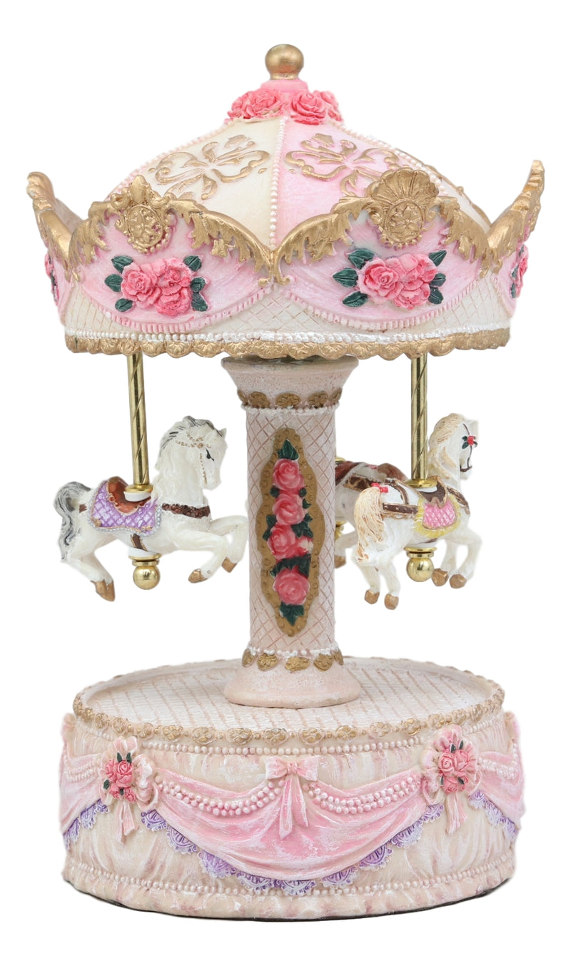 "Ebros Carnival Merry Go Round Princess Pink Royalty Horse Ponies Musical Carousel Statue Playing Toyland Tune 8.25"" Tall Clockwork Mechanism Mythical Fantasy Home Decor"
