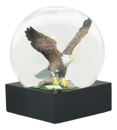 "Ebros Wildlife Wings of Glory Ascending Bald Eagle Glitter Water Globe Collectible Figurine 4.5"" Tall US Patriotic National Emblem Soaring Bald Eagle"