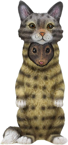 "Ebros Dupers Collection Mouse Rat Disguising As A Tabby Cat Statue 5.25"" Tall"