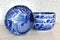 Pack Of 4 Made In Japan Feng Shui Koi Fish Blue Large 42oz Serving Soup Bowls