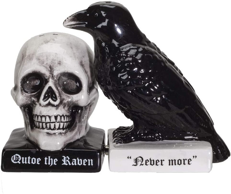 Ebros Quoth The Raven Halloween Ceramic Salt and Pepper Shakers Set