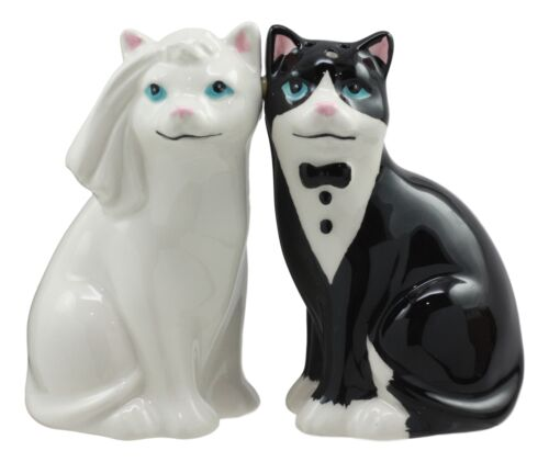 Wedding Black White Cats In Tuxedo And Bridal Gown Salt And Pepper Shakers Set