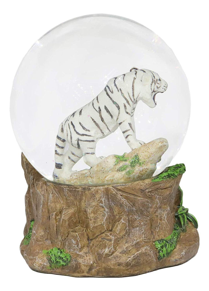 "Ebros Forest Jungle Apex Predator White Alaskan Siberian White Tiger Glitter Snow Globe 100mm Collectible Figurine 6.25"" Tall As Wildlife Animal Hunter Tigers Giant Cats Novelty Water Globes Decor"