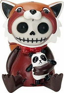 Ebros Furrybones Reddington The Red Panda Hooded Skeleton Monster Collectible
