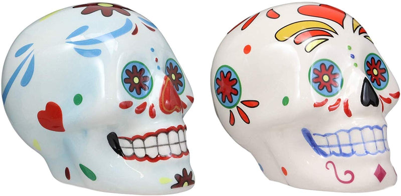 Ebros Colorful Day Of The Dead Blue And White Sugar Skulls Salt And Pepper Shakers Set Ceramic Holder Kitchen Decor As Ossuary Skull Skeleton Dias De Los Muertos Calacas Prop Decorative