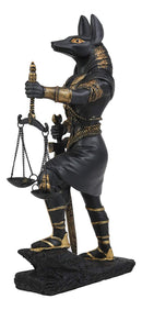 "God Anubis with Scales of Justice Statue Figurine 10"" Tall (Black and Gold)"
