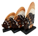 Balinese Wood Handicrafts Tropical Solar Angel Fish Family Set of 3 Figurines