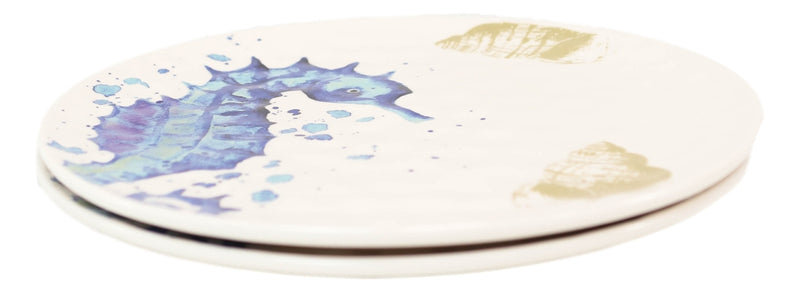 Nautical Marine Sea Blue And White Seahorse Ceramic Round Dinner Plates 2 Pack