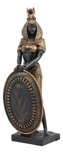 Ebros Egyptian Theme Isis Holding Shield Bronzed Resin Statue Sculpture Figurine