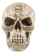 "Ossuary Mayan Bone Cream Death Warrior Tribal Tattoo Skull Skeleton Figurine 4""H"