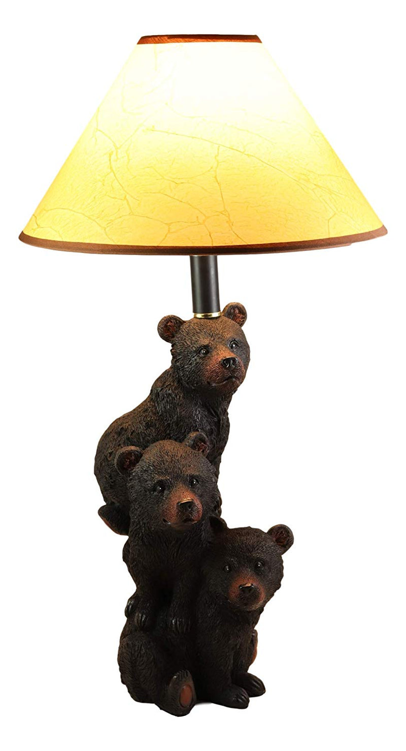 "Ebros Wildlife Rustic Cabin Lodge Decor Whimsical Stacked Up 3 Playful Black Bear Cubs On Piggyback Table Lamp Statue with Shade 23.75""High Forest Bear Family Desktop Lamps"
