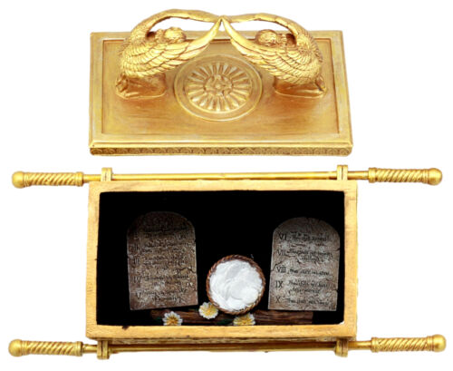Ebros Matte Gold Ark Of The Covenant With Ten Commandments