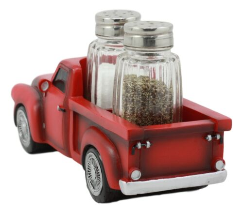 Ebros Old Fashioned Red Pickup Truck Holder For Glass Salt And Pepper Shakers