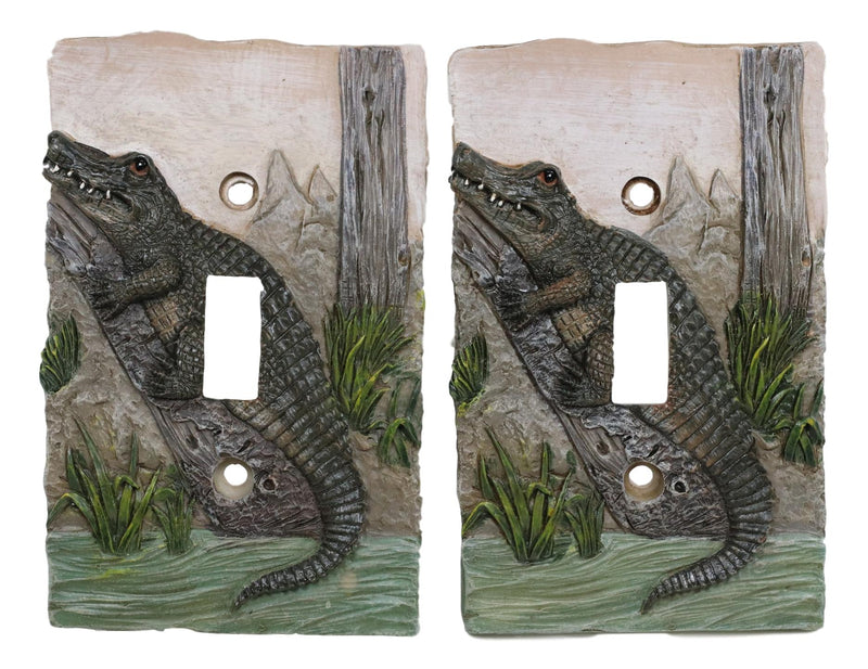 Pack of 2 Wildlife Bayou Swamp Alligator Single Toggle Switch Wall Outlet Plate