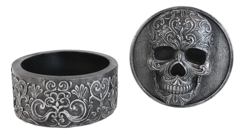 Day Of The Dead Secrets Of The Macabre Gothic Tooled Floral Skull Decorative Box
