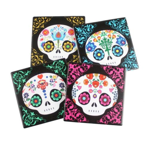 Calavera Baby Sugar Skulls Day Of The Dead Ceramic Coaster Set 4 Corked Tiles