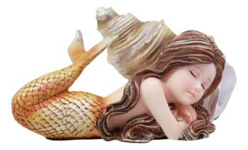 Ebros Under The Sea Young Mermaid Resting by Snail Sconce Shell Figurine Decor for Mermaids Fantasy Ocean Life (Orange Mergirl)