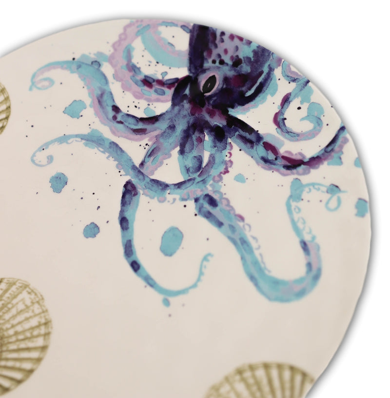 "Nautical Marine Ocean Octopus Sea Shell Ceramic Round Dinner Plates 11""D 2-Pack"
