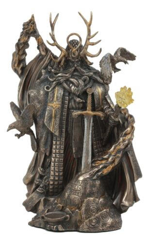 Arthurian Legend Wizard Merlin With Excalibur Sword Statue Magic Fire Prophet - Atlantic Collectibles