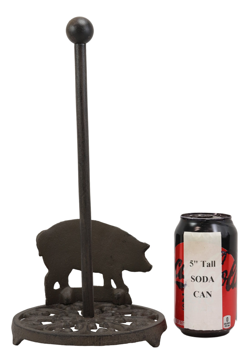 "Ebros 13.5""Tall Cast Iron Metal Rustic Vintage Farm Swine Porky Pig With Scroll Art Design Paper Towel Holder Display Dispenser Stand Counter Top Kitchen Bathroom Home Decor Aged Bronze Finish - Ebros Gift"