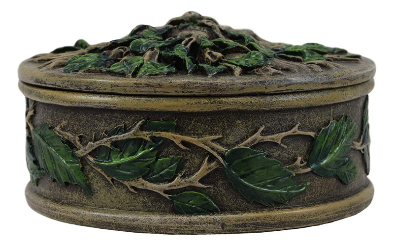 "Ebros Wiccan Celtic Forest Spirit Greenman Tree of Life Round Jewelry Box 4.5"" Diameter Vegetative Earth Deity Small Trinket Box Figurine"