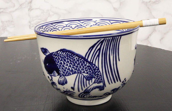"Ebros Ming Style Zen Blue White Koi Fishes By Waterfall Ramen Udong Noodles 5"" Diameter Bowl With Built In Chopsticks Rest and Bamboo Chopstick Set for Dining Soup Rice Meal Cereal Bowls Decor Kitchen"