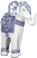 "Ebros Feng Shui Ming Style Blue and White Ornate Design with Crystals Trunk Up Elephant Statue 8.75"" High Vastu 3D Zen Elephants Figurine Symbol of Wisdom Wealth Fortune"