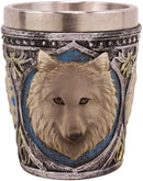 Ebros Full Moon Grey Wolf 2-Ounce Shot Glass Resin With Stainless Steel Liners