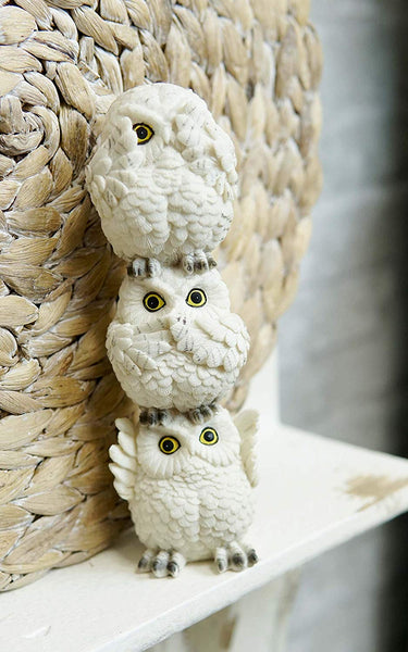 Ebros Stacked See Hear Speak No Evil Wise Acrobatic Fat Owls Figurine (White)