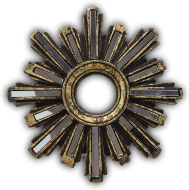 "Ebros 9.5"" Diameter Rustic Vintage Gold Solar Sun with Sunburst Rays Round Wall Decor with Glass Mirrors Decorative Hanging Plaque Mirror Sculpture As Decorative Accent"