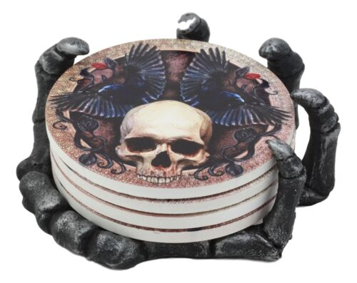 Ebros Gothic Alchemy Clutch of The Dead Skeleton Hand Resin Coaster Figurine Holder with 4 Skull Raven Tile Coasters Set Furniture Protector Home Decor Statue