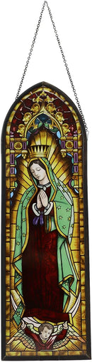 Ebros Frank Lloyd Wright Lady of Guadalupe Virgin Mary Stained Glass Wall Decor