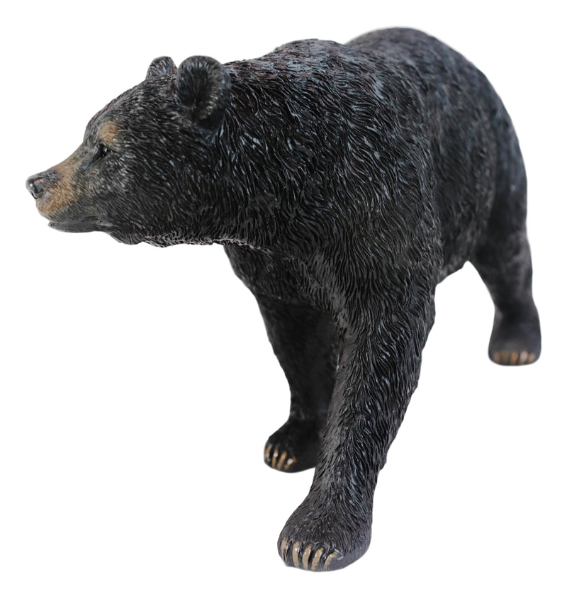 Rustic Western Cabin Lodge Realistic Black Bear Roaming The Woods Figurine 10""