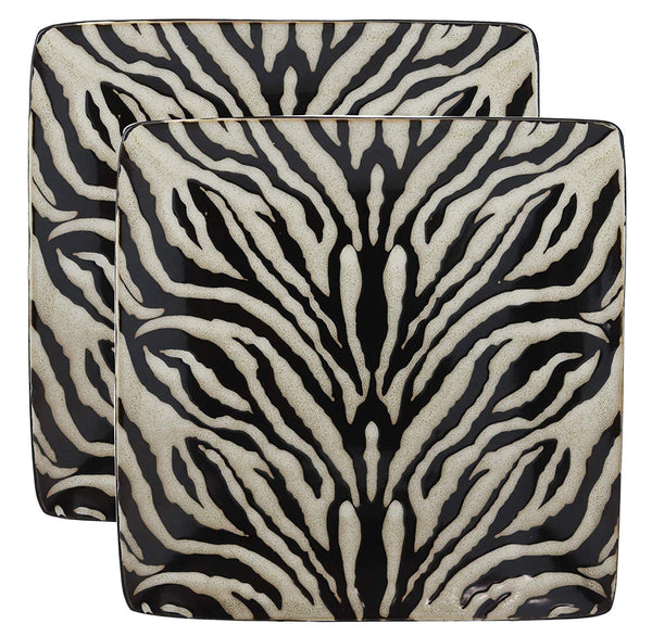"Ebros Animal Wildlife Jungle Forest Apex Predator Giant Cat Tiger Prints Abstract Art Large Square Dinner Plate Set of 2 10.75"" Plates Dishwasher Microwave Safe Dinnerware Dishes"