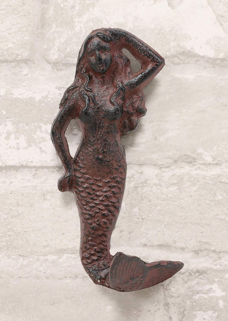"Ebros Gift 6"" Tall Cast Iron Rustic Vintage Finish Wall Coat Hook Mermaids Decorative Accent Hooks for Keys Leashes Hats (1)"