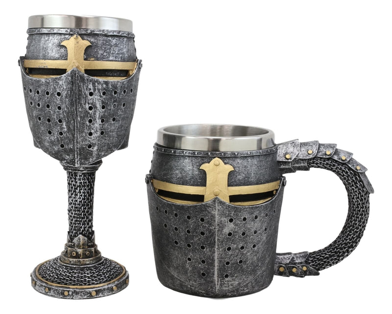 Ebros Medieval Knight Suit of Armor Helm Drinkware Set of 2 Wine Goblet And Mug