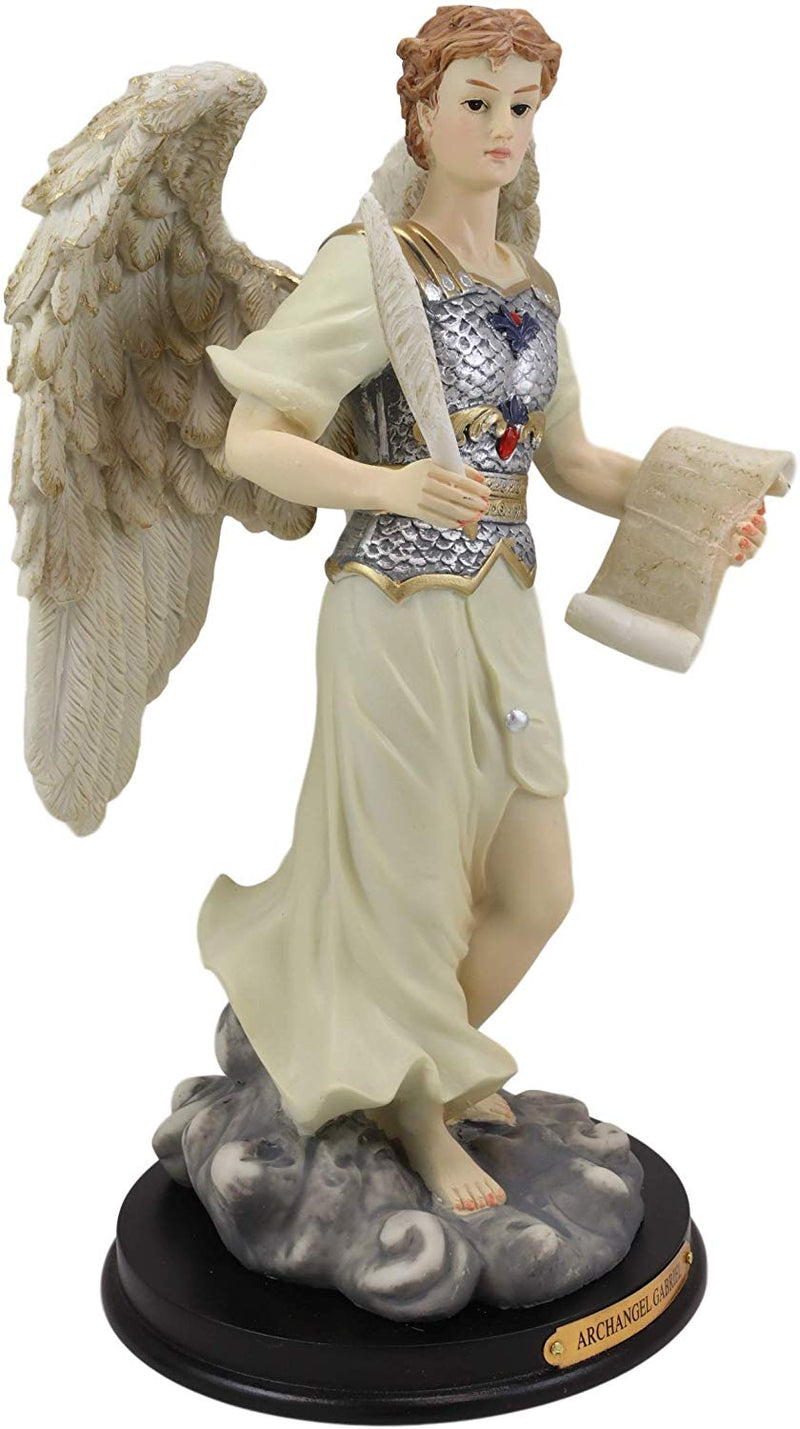 "Ebros Byzantine Archangel Saint Gabriel with Brass Name Plate Wooden Base 12""H"