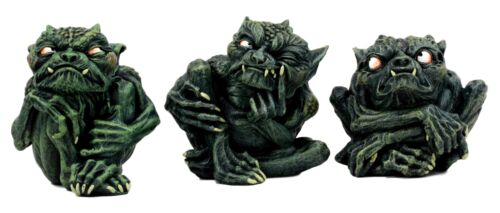 Ebros Demonic Notre Dame Toad Troll Gargoyle Figurine Collectible (Set of 3)