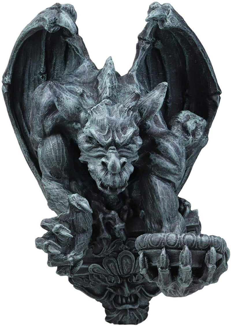 "Ebros Whitechapel Manor Winged Servant Gargoyle Decorative Candle Holder Wall Sconce Decor Plaque Sculpture 12"" Tall Medieval Renaissance Gargoyles Cathedral Gothic Accent Candleholder"
